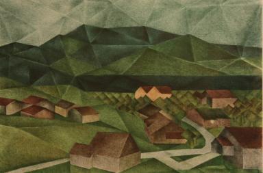 Kurt Kimmich, Allgäu Kugel, 1976, Tusche auf Papier, 29,5 x 42,5 cm