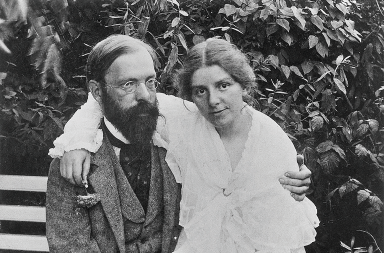 Paula und Otto Modersohn in ihrem Garten vor der Veranda, um 1904 © Paula-Modersohn-Becker-Stiftung Bremen